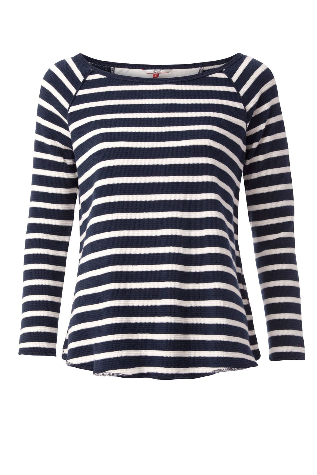 Waffle Lace Top, Navy - pattern: horizontal stripes; secondary colour: white; predominant colour: navy; occasions: casual; length: standard; style: top; fibres: cotton - 100%; fit: body skimming; neckline: crew; sleeve length: long sleeve; sleeve style: standard; pattern type: fabric; texture group: jersey - stretchy/drapey; multicoloured: multicoloured; season: s/s 2016; wardrobe: basic