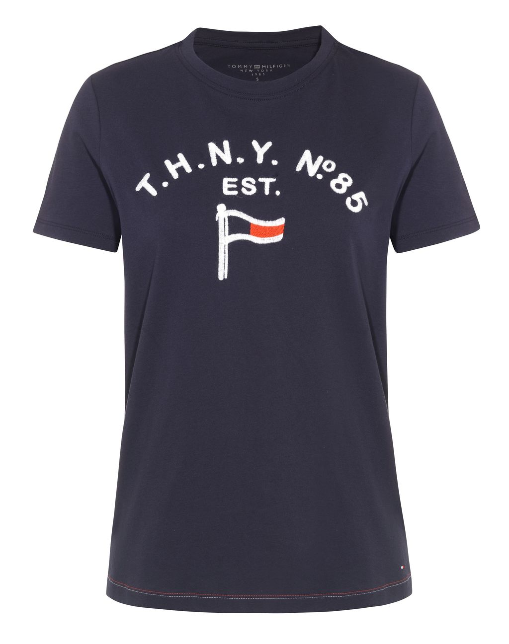 Raised Th Flag T Shirt, Navy - style: t-shirt; secondary colour: white; predominant colour: navy; occasions: casual; length: standard; fibres: cotton - 100%; fit: body skimming; neckline: crew; sleeve length: short sleeve; sleeve style: standard; pattern type: fabric; texture group: jersey - stretchy/drapey; pattern: graphic/slogan; multicoloured: multicoloured; season: s/s 2016; wardrobe: highlight
