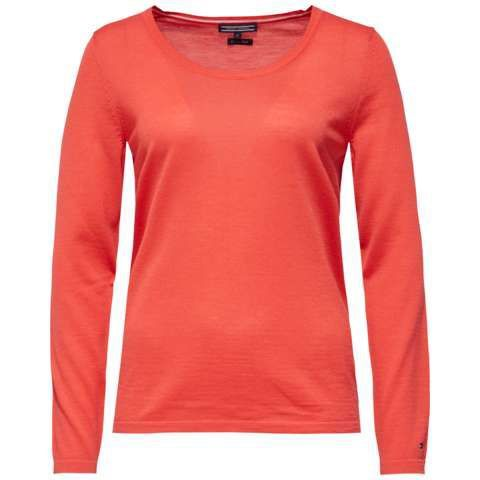 Guvera Scoop Neck Sweater, Orange - neckline: round neck; pattern: plain; style: standard; predominant colour: bright orange; occasions: casual; length: standard; fibres: wool - 100%; fit: slim fit; sleeve length: long sleeve; sleeve style: standard; texture group: knits/crochet; pattern type: fabric; season: s/s 2016; wardrobe: highlight