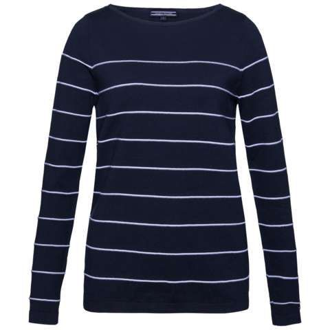 Ivy Stripe Boat Neck Sweater, Navy - pattern: horizontal stripes; style: standard; secondary colour: white; predominant colour: navy; occasions: casual; length: standard; fibres: cotton - mix; fit: slim fit; neckline: crew; sleeve length: long sleeve; sleeve style: standard; pattern type: fabric; pattern size: standard; texture group: jersey - stretchy/drapey; multicoloured: multicoloured; season: s/s 2016; wardrobe: highlight