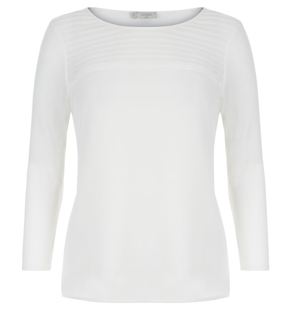 Anna Top, Cream - pattern: plain; predominant colour: ivory/cream; occasions: casual; length: standard; style: top; fibres: viscose/rayon - 100%; fit: body skimming; neckline: crew; sleeve length: long sleeve; sleeve style: standard; pattern type: fabric; texture group: jersey - stretchy/drapey; season: s/s 2016; wardrobe: basic