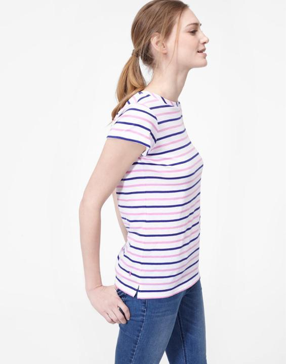 Blue And Pink Stripe Nessa Relaxed Fit Tee Size 20 | Uk - pattern: striped; style: t-shirt; predominant colour: blush; secondary colour: navy; occasions: casual; length: standard; fibres: cotton - 100%; fit: body skimming; neckline: crew; sleeve length: short sleeve; sleeve style: standard; pattern type: fabric; texture group: jersey - stretchy/drapey; multicoloured: multicoloured; season: s/s 2016; wardrobe: highlight