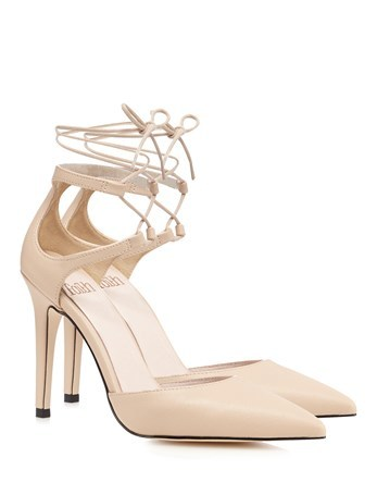 Point Ghillie Heeled Sandals - predominant colour: nude; occasions: evening, occasion; material: faux leather; heel height: high; ankle detail: ankle tie; heel: stiletto; toe: pointed toe; style: courts; finish: plain; pattern: plain; season: s/s 2016; wardrobe: event