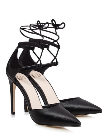 Point Ghillie Heeled Sandals - predominant colour: black; occasions: evening, occasion; material: faux leather; heel height: high; ankle detail: ankle tie; heel: stiletto; toe: pointed toe; style: courts; finish: plain; pattern: plain; season: s/s 2016; wardrobe: event