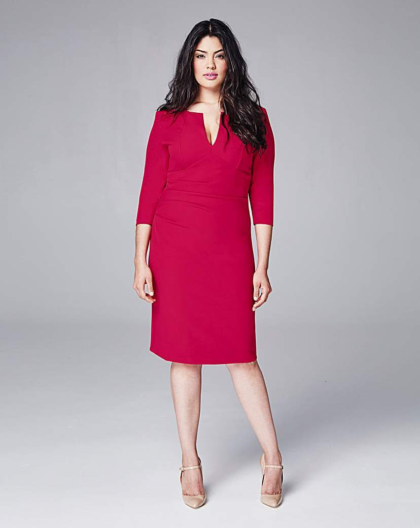 Eden Row Gathered Fitted Dress - style: shift; neckline: v-neck; pattern: plain; predominant colour: hot pink; occasions: evening; length: on the knee; fit: body skimming; fibres: polyester/polyamide - stretch; sleeve length: 3/4 length; sleeve style: standard; texture group: jersey - clingy; pattern type: fabric; season: s/s 2016; wardrobe: event