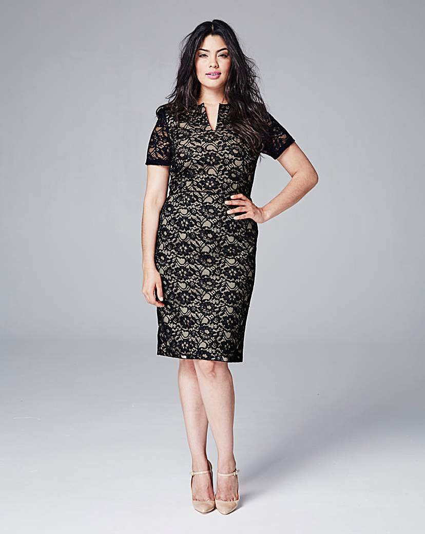 Eden Row Lace Fitted Dress - style: shift; neckline: v-neck; fit: tailored/fitted; predominant colour: black; occasions: evening; length: on the knee; fibres: viscose/rayon - stretch; sleeve length: short sleeve; sleeve style: standard; texture group: lace; pattern type: fabric; pattern size: standard; pattern: patterned/print; season: s/s 2016; wardrobe: event