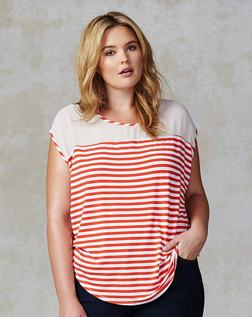 Traffic People Stripe Jersey Top - neckline: round neck; sleeve style: capped; pattern: horizontal stripes; length: below the bottom; style: t-shirt; secondary colour: white; predominant colour: true red; occasions: casual, creative work; fibres: viscose/rayon - stretch; fit: loose; sleeve length: short sleeve; pattern type: fabric; pattern size: standard; texture group: jersey - stretchy/drapey; season: s/s 2016; wardrobe: highlight