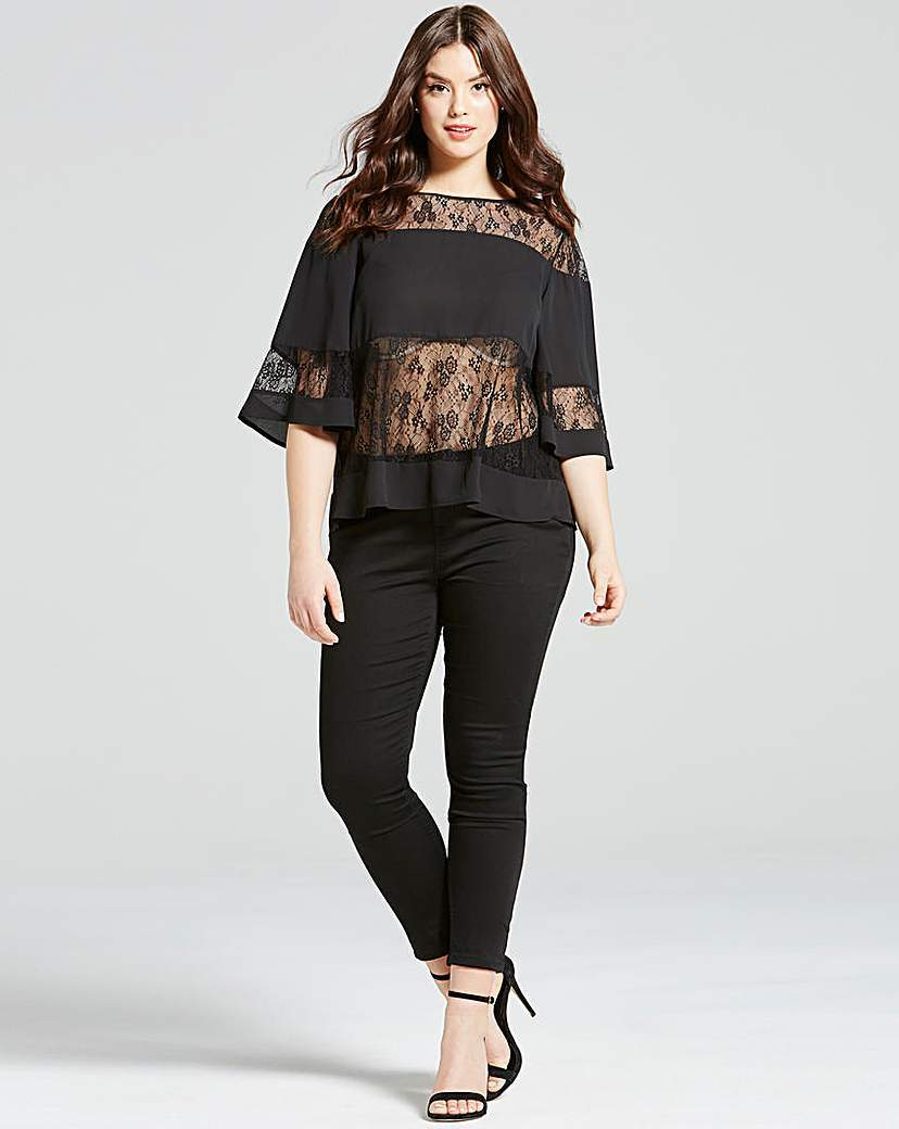 Girls On Film Black Lace Stripe Top - neckline: slash/boat neckline; sleeve style: dolman/batwing; style: blouse; predominant colour: black; occasions: evening; length: standard; fibres: polyester/polyamide - 100%; fit: loose; bust detail: contrast pattern/fabric/detail at bust; sleeve length: 3/4 length; texture group: lace; pattern type: fabric; pattern size: standard; pattern: patterned/print; shoulder detail: sheer at shoulder; season: s/s 2016