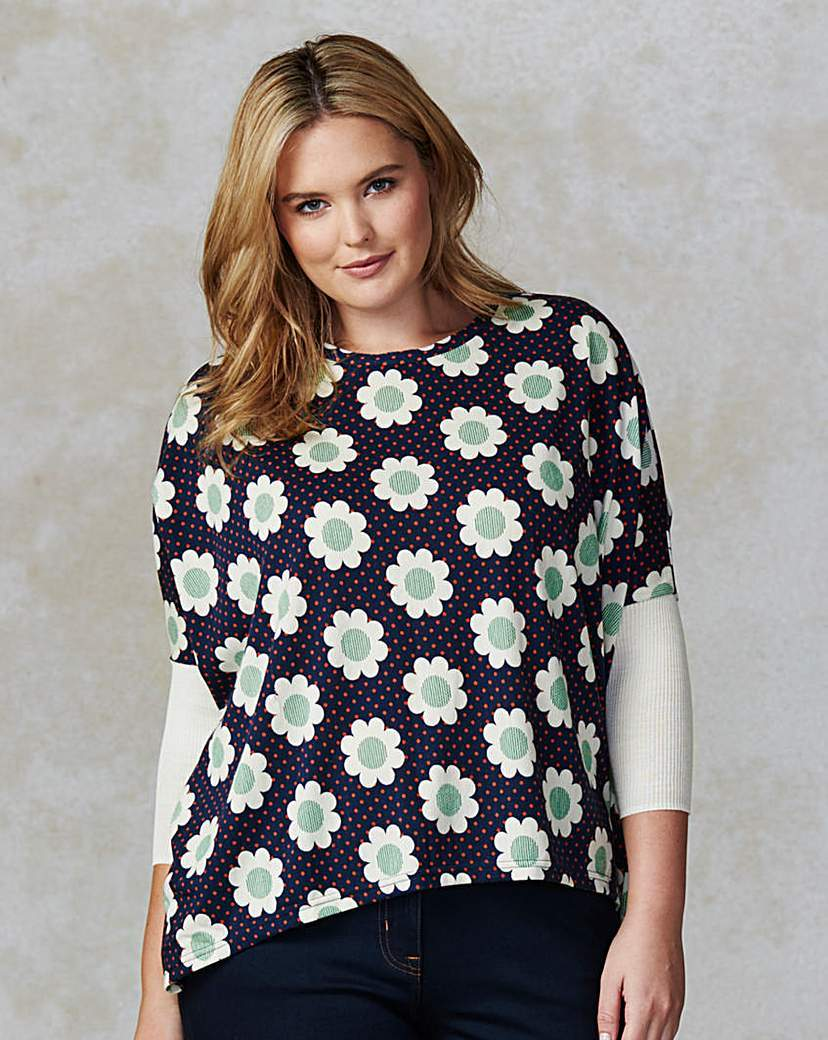 Traffic People Floral Print Jumper - style: standard; secondary colour: white; predominant colour: navy; occasions: casual; length: standard; fibres: cotton - mix; fit: loose; neckline: crew; sleeve length: 3/4 length; sleeve style: standard; texture group: knits/crochet; pattern type: knitted - fine stitch; pattern size: standard; pattern: florals; multicoloured: multicoloured; season: s/s 2016; wardrobe: highlight