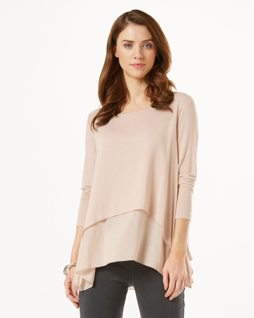 Ciera Plain - neckline: round neck; pattern: plain; length: below the bottom; predominant colour: nude; occasions: casual, creative work; style: top; fibres: polyester/polyamide - 100%; fit: loose; sleeve length: 3/4 length; sleeve style: standard; pattern type: fabric; texture group: other - light to midweight; season: s/s 2016; wardrobe: basic