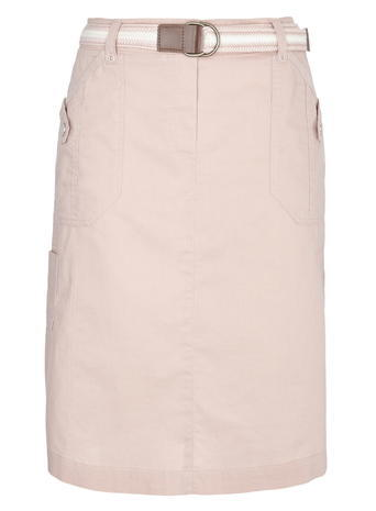 Womens Balted Sheeting Skirt, Pale Pink, Pale Pink - pattern: plain; style: straight; fit: tailored/fitted; waist: high rise; waist detail: belted waist/tie at waist/drawstring; predominant colour: pink; occasions: casual; length: just above the knee; fibres: cotton - 100%; texture group: cotton feel fabrics; pattern type: fabric; season: s/s 2016; wardrobe: highlight