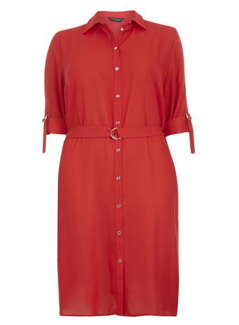 Womens Dp Curve Red D Ring Shirt Dres, Red - style: shirt; length: mid thigh; neckline: shirt collar/peter pan/zip with opening; fit: loose; pattern: plain; predominant colour: true red; occasions: casual, creative work; fibres: polyester/polyamide - 100%; sleeve length: short sleeve; sleeve style: standard; pattern type: fabric; texture group: other - light to midweight; season: s/s 2016; wardrobe: highlight