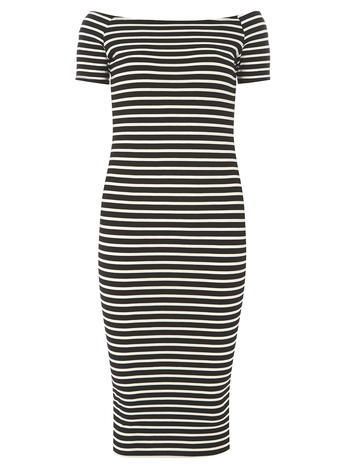 Womens Dorothy Perkins Tall Black And White Short Sleeve Bardot Bodycon Dress, Black - length: below the knee; neckline: off the shoulder; fit: tight; pattern: horizontal stripes; style: bodycon; predominant colour: black; secondary colour: black; occasions: evening; fibres: viscose/rayon - stretch; sleeve length: short sleeve; sleeve style: standard; pattern type: fabric; pattern size: standard; texture group: jersey - stretchy/drapey; season: s/s 2016; wardrobe: event