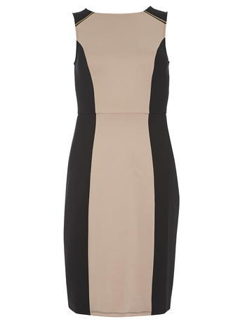 Dorothy Perkins Camel Panel Zip Pencil Dress, Black - fit: tight; sleeve style: sleeveless; style: bodycon; predominant colour: camel; secondary colour: camel; occasions: evening; length: just above the knee; fibres: polyester/polyamide - stretch; neckline: crew; sleeve length: sleeveless; texture group: jersey - clingy; pattern type: fabric; pattern: colourblock; season: s/s 2016; wardrobe: event