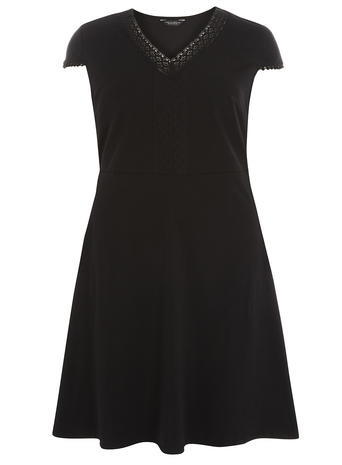 Womens Dp Curve Black Pom Pom Trim Fit And Flare Dress, Black - neckline: v-neck; sleeve style: capped; pattern: plain; predominant colour: black; occasions: evening; length: just above the knee; fit: fitted at waist & bust; style: fit & flare; fibres: cotton - stretch; sleeve length: short sleeve; pattern type: fabric; texture group: jersey - stretchy/drapey; season: s/s 2016; wardrobe: event