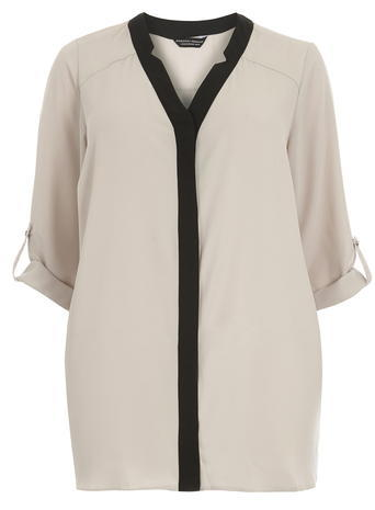 Womens Dp Curve Mink Notch Neck Roll Top, Brown - neckline: v-neck; pattern: plain; length: below the bottom; style: blouse; predominant colour: ivory/cream; secondary colour: black; occasions: casual; fibres: polyester/polyamide - 100%; fit: loose; sleeve length: 3/4 length; sleeve style: standard; pattern type: fabric; texture group: other - light to midweight; season: s/s 2016; wardrobe: basic
