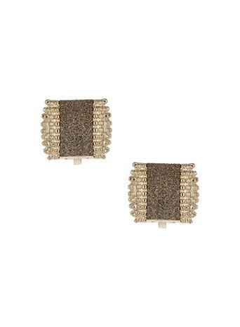 Womens Bronze Glitter Clip On Earrings, Brown - predominant colour: gold; occasions: evening, occasion; style: stud; length: short; size: standard; material: chain/metal; fastening: clip on; finish: metallic; embellishment: beading; season: s/s 2016; wardrobe: event