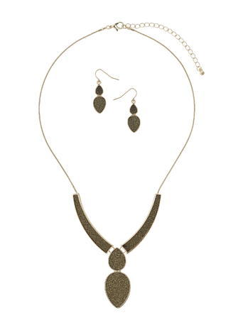 Womens Bronze Glitter Jewellery Set, Brown - predominant colour: bronze; occasions: evening, occasion; length: mid; size: large/oversized; material: chain/metal; finish: plain; embellishment: glitter; style: bib/statement; season: s/s 2016; wardrobe: event