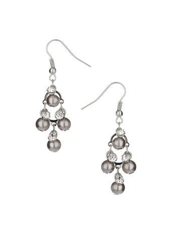 Womens Grey Pearl Chandelier Earring, Grey - predominant colour: silver; occasions: evening, occasion; style: chandelier; length: long; size: standard; material: chain/metal; fastening: pierced; finish: metallic; embellishment: pearls; secondary colour: clear; season: s/s 2016; wardrobe: event
