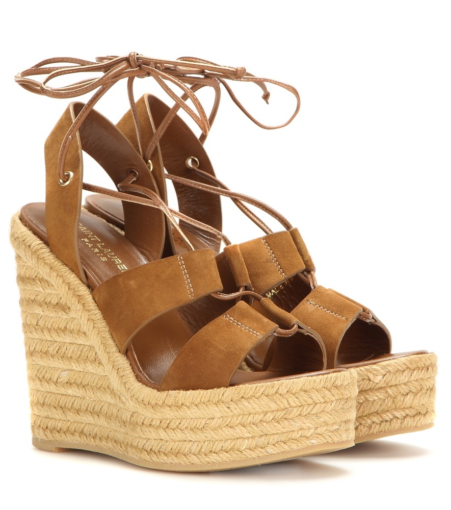 Espadrille 95 Suede Wedge Sandals - predominant colour: tan; occasions: casual; material: leather; ankle detail: ankle tie; heel: wedge; toe: open toe/peeptoe; style: strappy; finish: plain; pattern: plain; heel height: very high; shoe detail: platform; season: s/s 2016; wardrobe: highlight