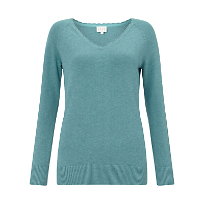 Frill Neck Jumper - neckline: v-neck; pattern: plain; style: standard; predominant colour: mint green; occasions: casual, creative work; length: standard; fibres: cotton - 100%; fit: standard fit; sleeve length: long sleeve; sleeve style: standard; texture group: knits/crochet; pattern type: knitted - other; season: s/s 2016; wardrobe: highlight
