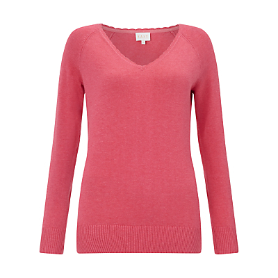 Frill Neck Jumper - neckline: v-neck; pattern: plain; style: standard; predominant colour: pink; occasions: casual, creative work; length: standard; fibres: cotton - 100%; fit: slim fit; sleeve length: long sleeve; sleeve style: standard; texture group: knits/crochet; pattern type: knitted - fine stitch; pattern size: standard; season: s/s 2016; wardrobe: highlight