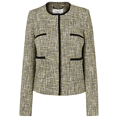Anais Tweed Tailored Jacket, Multi - collar: round collar/collarless; style: boxy; pattern: herringbone/tweed; predominant colour: stone; secondary colour: black; occasions: casual, creative work; length: standard; fit: straight cut (boxy); fibres: wool - mix; sleeve length: long sleeve; sleeve style: standard; collar break: high; pattern type: fabric; pattern size: standard; texture group: tweed - light/midweight; multicoloured: multicoloured; season: s/s 2016