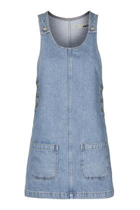 Moto Scoop Neck Denim Pini - neckline: round neck; pattern: plain; sleeve style: sleeveless; style: dungaree dress/pinafore; predominant colour: pale blue; occasions: casual; length: just above the knee; fit: body skimming; fibres: cotton - 100%; sleeve length: sleeveless; texture group: denim; pattern type: fabric; trends: tomboy girl; season: s/s 2016; wardrobe: highlight
