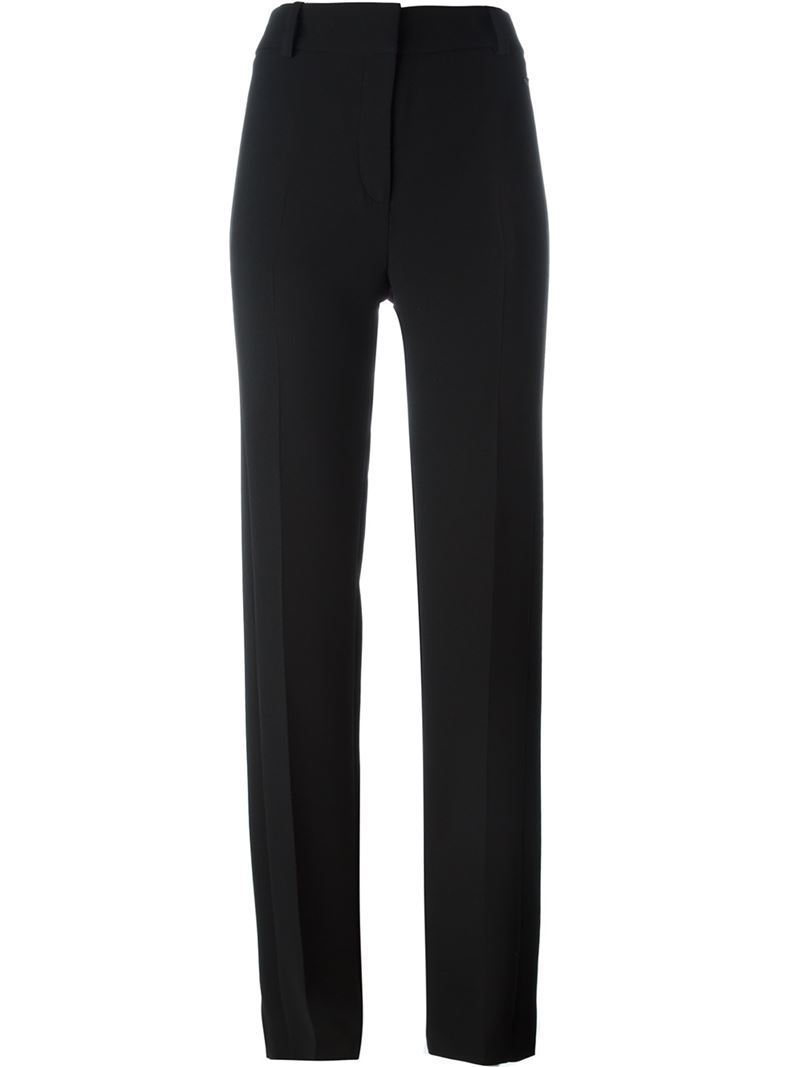 High Waist Trousers, Women's, Black - length: standard; pattern: plain; waist: mid/regular rise; predominant colour: black; occasions: work, creative work; fibres: silk - 100%; hip detail: subtle/flattering hip detail; fit: straight leg; pattern type: fabric; texture group: woven light midweight; style: standard; season: s/s 2016; wardrobe: basic