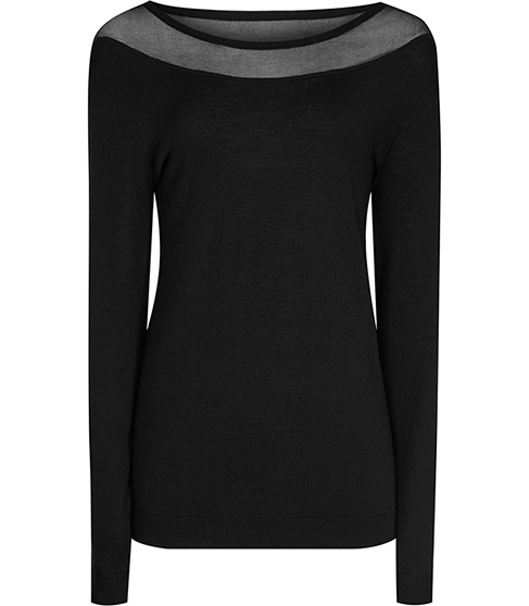 Rachael Mesh Panel Jumper - neckline: round neck; pattern: plain; style: standard; predominant colour: black; occasions: evening; length: standard; fibres: wool - 100%; fit: slim fit; sleeve length: long sleeve; sleeve style: standard; texture group: knits/crochet; pattern type: knitted - fine stitch; season: s/s 2016; wardrobe: event