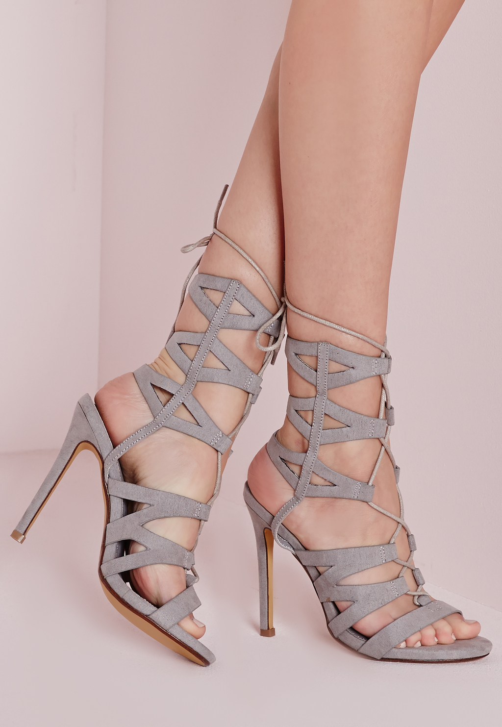 Laser Cut Mid Calf Heeled Sandals Grey, Grey - predominant colour: mid grey; occasions: evening, occasion; heel height: high; ankle detail: ankle tie; heel: stiletto; toe: open toe/peeptoe; style: strappy; finish: plain; pattern: plain; material: faux suede; season: s/s 2016; wardrobe: event