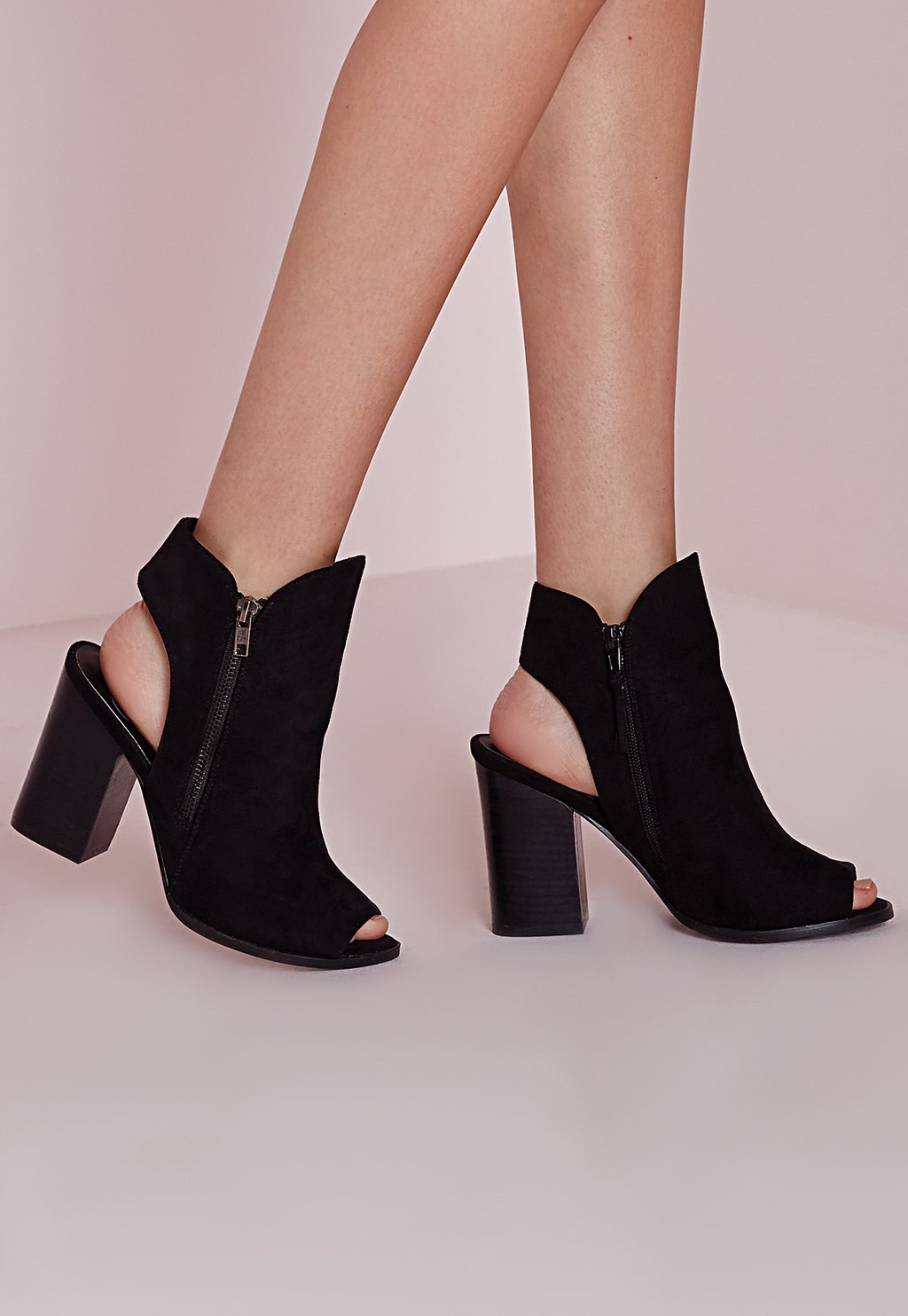 Peep Toe Cut Out Ankle Boots Black, Black - predominant colour: black; occasions: casual, creative work; heel height: high; heel: block; toe: open toe/peeptoe; boot length: ankle boot; style: standard; finish: plain; pattern: plain; material: faux suede; season: s/s 2016