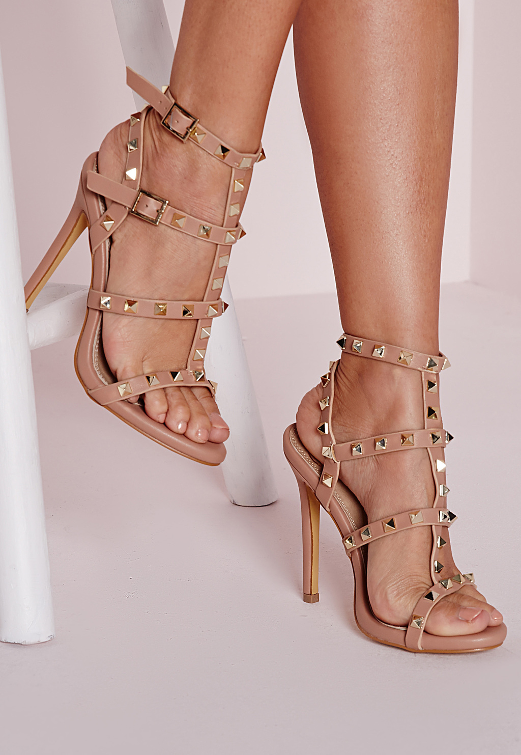 Studded Heeled Gladiator Sandals Blush, Pink - predominant colour: nude; secondary colour: gold; occasions: evening, occasion; material: faux leather; heel height: high; embellishment: studs; ankle detail: ankle strap; heel: stiletto; toe: open toe/peeptoe; style: gladiators; finish: patent; pattern: plain; season: s/s 2016; wardrobe: event