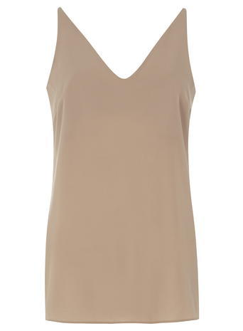 Womens **Tall Latte Deep V Neck Cami Top Camel - neckline: v-neck; pattern: plain; sleeve style: sleeveless; style: camisole; predominant colour: camel; occasions: casual; length: standard; fibres: polyester/polyamide - 100%; fit: body skimming; sleeve length: sleeveless; pattern type: fabric; texture group: other - light to midweight; season: s/s 2016; wardrobe: basic