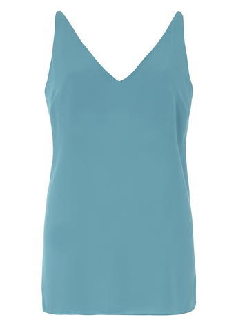 Womens **Tall Aqua Deep V Neck Cami Top Blue - neckline: v-neck; pattern: plain; sleeve style: sleeveless; style: camisole; predominant colour: turquoise; occasions: casual; length: standard; fibres: polyester/polyamide - 100%; fit: body skimming; sleeve length: sleeveless; pattern type: fabric; texture group: other - light to midweight; season: s/s 2016; wardrobe: highlight