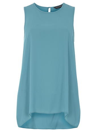 Womens **Tall Aqua Dip Hem Shell Top Blue - pattern: plain; sleeve style: sleeveless; length: below the bottom; style: vest top; predominant colour: turquoise; occasions: casual; fibres: polyester/polyamide - 100%; fit: body skimming; neckline: crew; sleeve length: sleeveless; pattern type: fabric; texture group: jersey - stretchy/drapey; season: s/s 2016; wardrobe: highlight