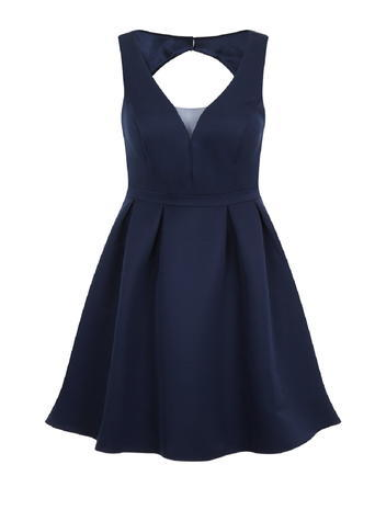 Womens **Chi Chi London Curve Mesh Insert Midi Dress Blue - neckline: v-neck; pattern: plain; sleeve style: sleeveless; style: full skirt; predominant colour: navy; occasions: evening; length: just above the knee; fit: fitted at waist & bust; fibres: polyester/polyamide - 100%; sleeve length: sleeveless; pattern type: fabric; texture group: jersey - stretchy/drapey; season: s/s 2016; wardrobe: event