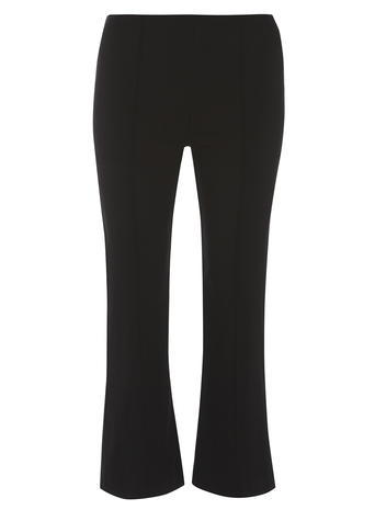 Womens Black Stretch Crop Flares Black - pattern: plain; waist: mid/regular rise; predominant colour: black; length: ankle length; fibres: viscose/rayon - stretch; fit: flares; pattern type: fabric; texture group: other - light to midweight; style: standard; occasions: creative work; season: s/s 2016; wardrobe: basic