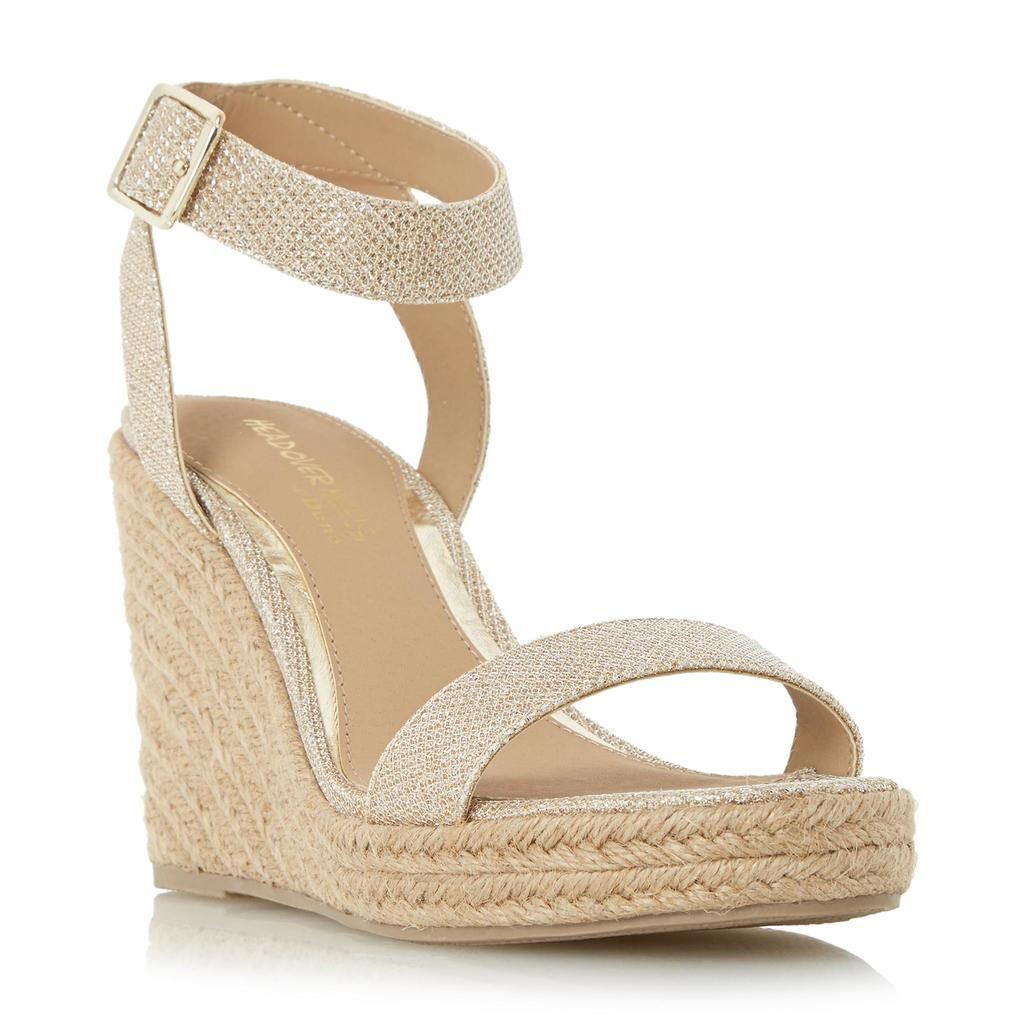 Kallisto Two Part Espadrille Wedge Sandal - predominant colour: nude; occasions: casual; material: fabric; heel height: high; ankle detail: ankle strap; heel: wedge; toe: open toe/peeptoe; style: strappy; finish: plain; pattern: plain; season: s/s 2016