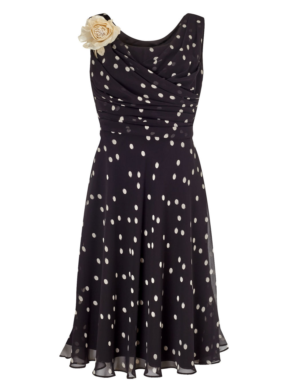 Petite Spot Print Dress, Black - style: a-line; neckline: cowl/draped neck; fit: fitted at waist; sleeve style: sleeveless; pattern: polka dot; bust detail: subtle bust detail; secondary colour: white; predominant colour: black; length: just above the knee; fibres: polyester/polyamide - stretch; occasions: occasion; hip detail: subtle/flattering hip detail; sleeve length: sleeveless; texture group: sheer fabrics/chiffon/organza etc.; pattern type: fabric; pattern size: light/subtle; embellishment: corsage; season: s/s 2016; wardrobe: event