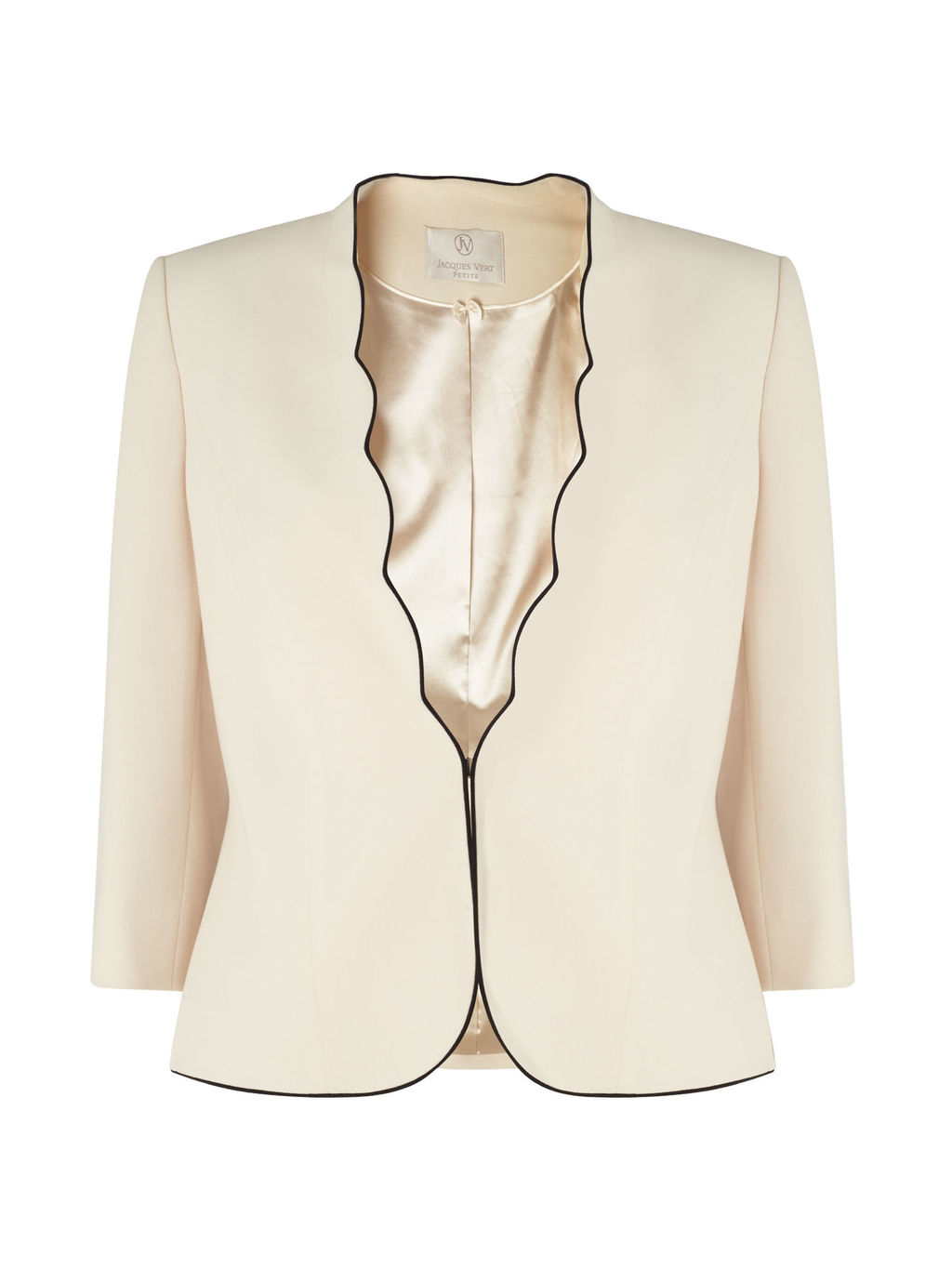 Petite Scallop Edge Jacket, Ivory - pattern: plain; style: single breasted blazer; collar: round collar/collarless; predominant colour: ivory/cream; length: standard; fit: tailored/fitted; fibres: polyester/polyamide - 100%; occasions: occasion; sleeve length: 3/4 length; sleeve style: standard; collar break: medium; pattern type: fabric; texture group: woven light midweight; season: s/s 2016; wardrobe: event
