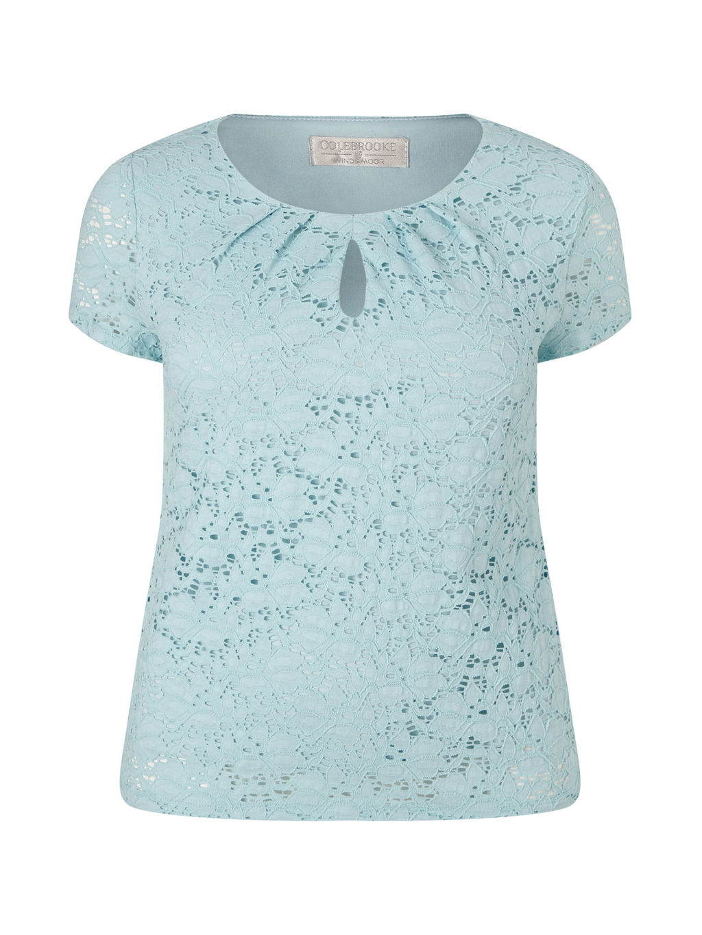 Aqua Lace Top - pattern: plain; bust detail: ruching/gathering/draping/layers/pintuck pleats at bust; predominant colour: turquoise; occasions: casual, creative work; length: standard; style: top; neckline: peep hole neckline; fibres: polyester/polyamide - 100%; fit: body skimming; sleeve length: short sleeve; sleeve style: standard; pattern type: fabric; texture group: other - light to midweight; embellishment: lace; season: s/s 2016