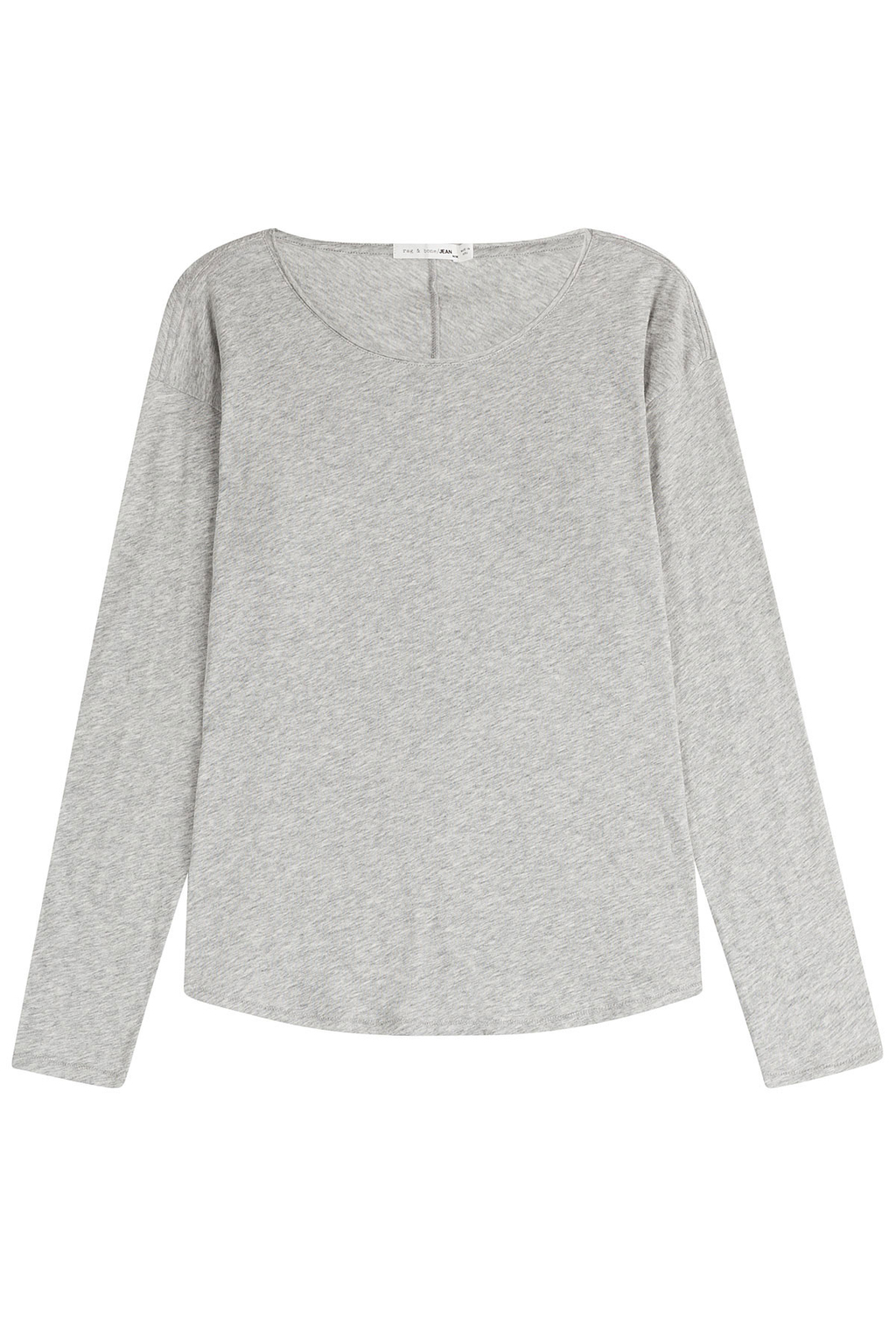 Cotton T Shirt With Scoop Neckline Grey - neckline: round neck; pattern: plain; style: t-shirt; predominant colour: light grey; occasions: casual; length: standard; fibres: cotton - 100%; fit: body skimming; sleeve length: long sleeve; sleeve style: standard; pattern type: fabric; texture group: jersey - stretchy/drapey; season: s/s 2016; wardrobe: basic
