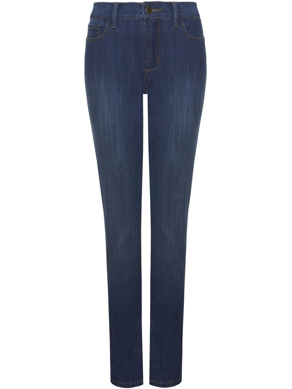 Samantha Slim, Blue - length: standard; pattern: plain; waist: high rise; style: slim leg; predominant colour: navy; occasions: casual; fibres: cotton - stretch; jeans detail: dark wash; texture group: denim; pattern type: fabric; season: s/s 2016