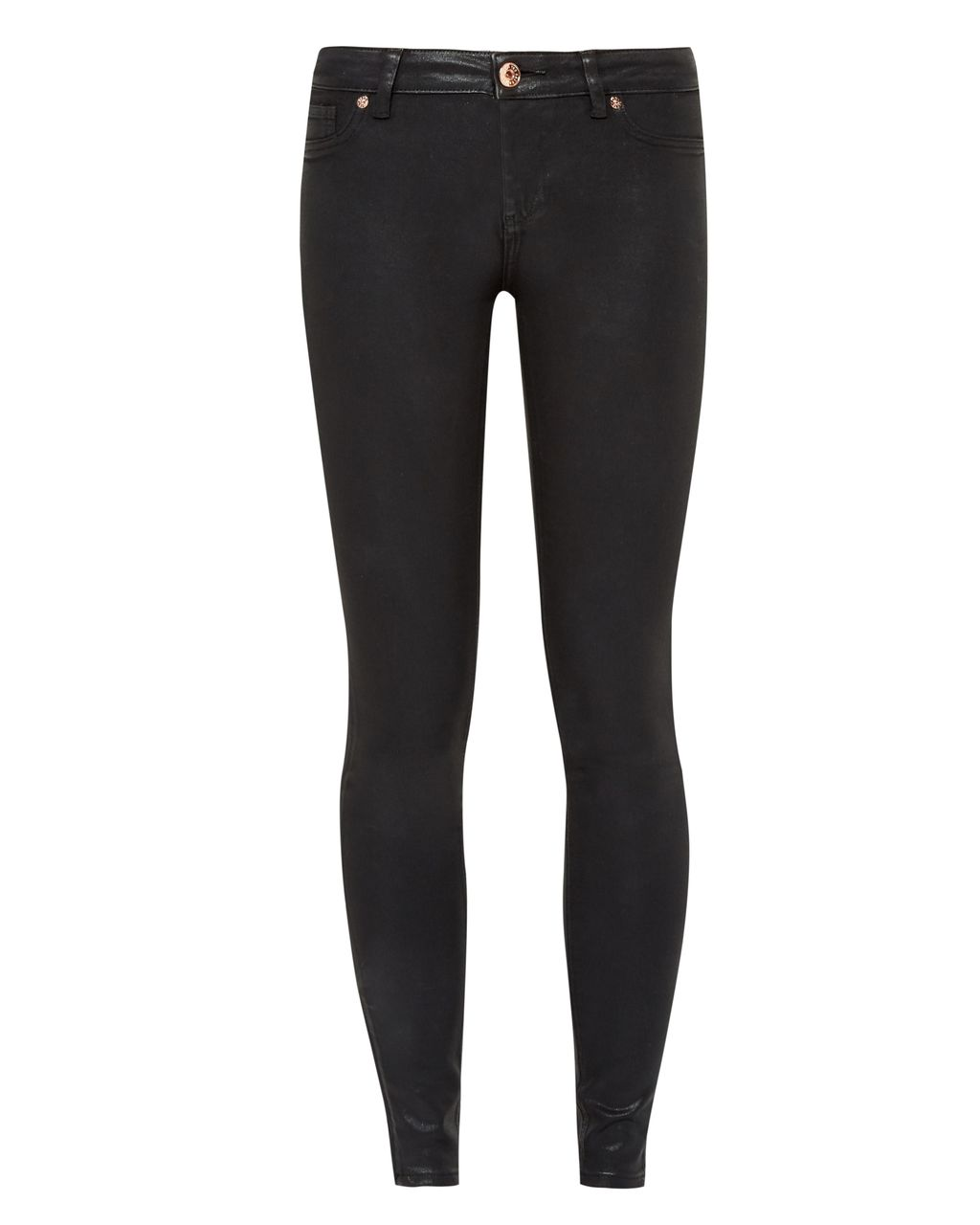 Annna Wax Finish Skinny Jeans, Black - style: skinny leg; length: standard; pattern: plain; pocket detail: traditional 5 pocket; waist: mid/regular rise; predominant colour: black; occasions: casual; fibres: cotton - stretch; texture group: denim; pattern type: fabric; season: s/s 2016; wardrobe: basic