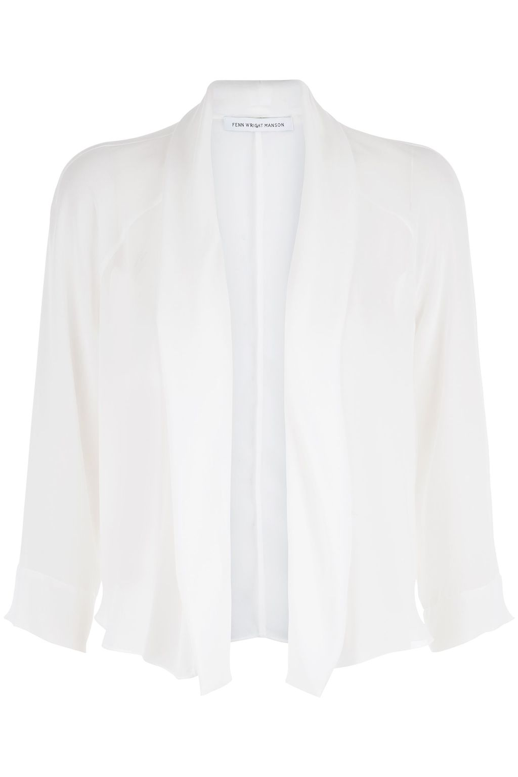 Miro Shrug, Cream - pattern: plain; style: bolero/shrug; length: cropped; neckline: collarless open; predominant colour: white; occasions: casual, creative work; fibres: polyester/polyamide - 100%; fit: slim fit; sleeve length: 3/4 length; sleeve style: standard; texture group: knits/crochet; pattern type: knitted - fine stitch; season: s/s 2016; wardrobe: basic