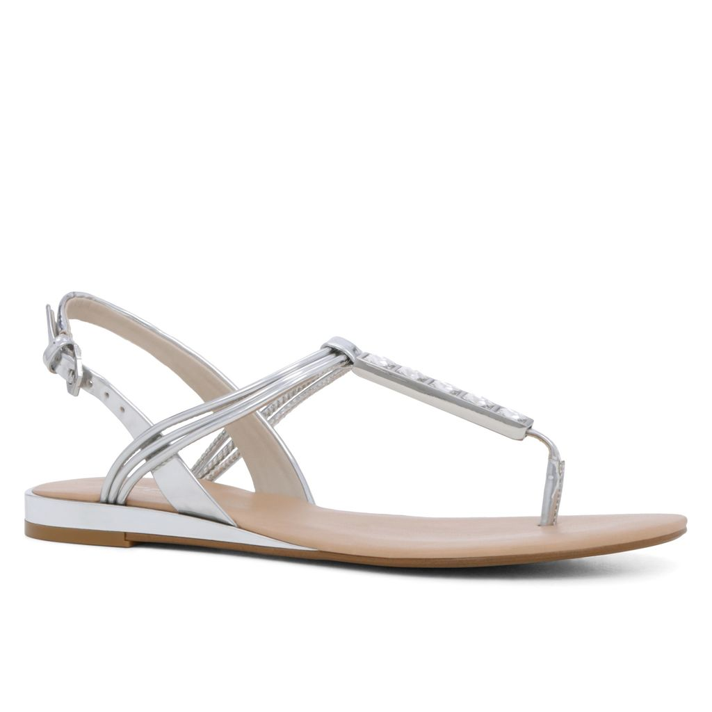 Amoura Flat Sandals, Silver Metallic - predominant colour: silver; material: faux leather; heel height: flat; heel: wedge; toe: toe thongs; style: strappy; occasions: holiday; finish: metallic; pattern: plain; season: s/s 2016; wardrobe: basic