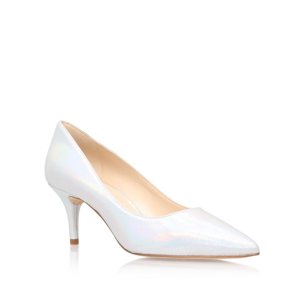 Margot High Heel Court Shoes, Silver - predominant colour: silver; occasions: evening, occasion; material: leather; heel height: mid; heel: stiletto; toe: pointed toe; style: courts; finish: metallic; pattern: plain; season: s/s 2016; wardrobe: event
