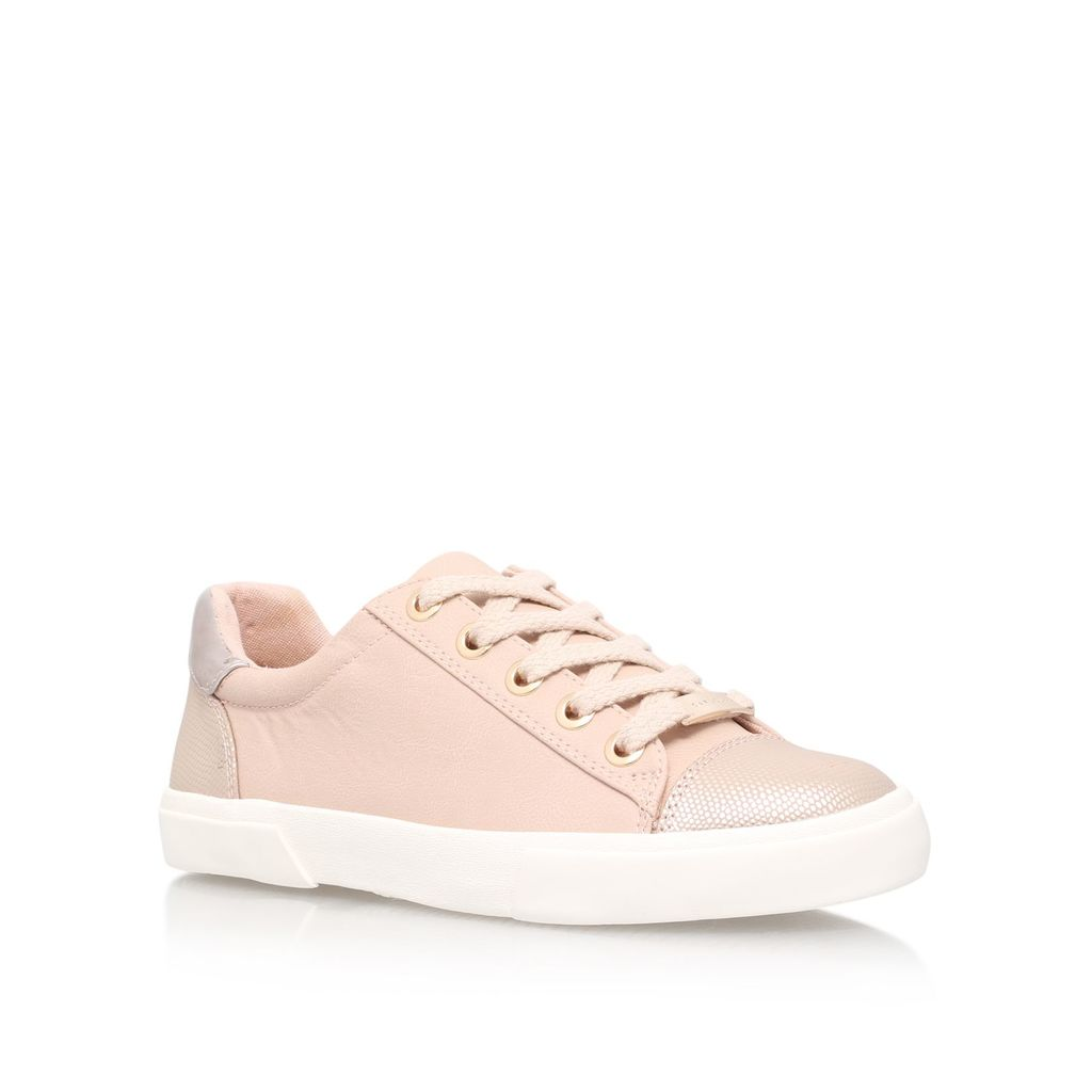 Light Lace Up Trainers, Pink - predominant colour: blush; occasions: casual; material: fabric; heel height: flat; toe: round toe; style: trainers; finish: plain; pattern: plain; season: s/s 2016; wardrobe: basic