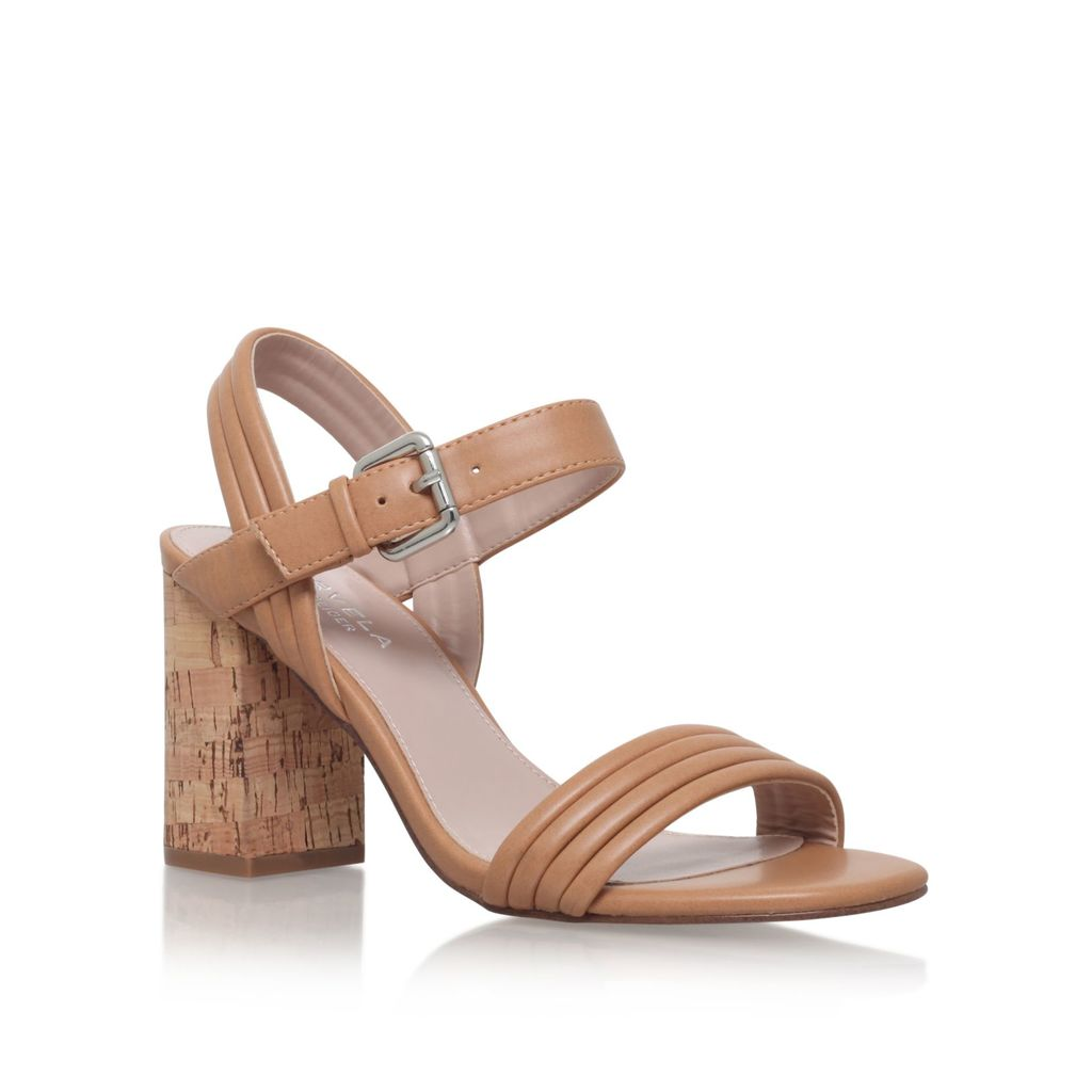 Slick High Heel Sandals, Camel - predominant colour: tan; occasions: casual; material: faux leather; heel height: high; heel: block; toe: open toe/peeptoe; style: strappy; finish: plain; pattern: plain; season: s/s 2016; wardrobe: highlight